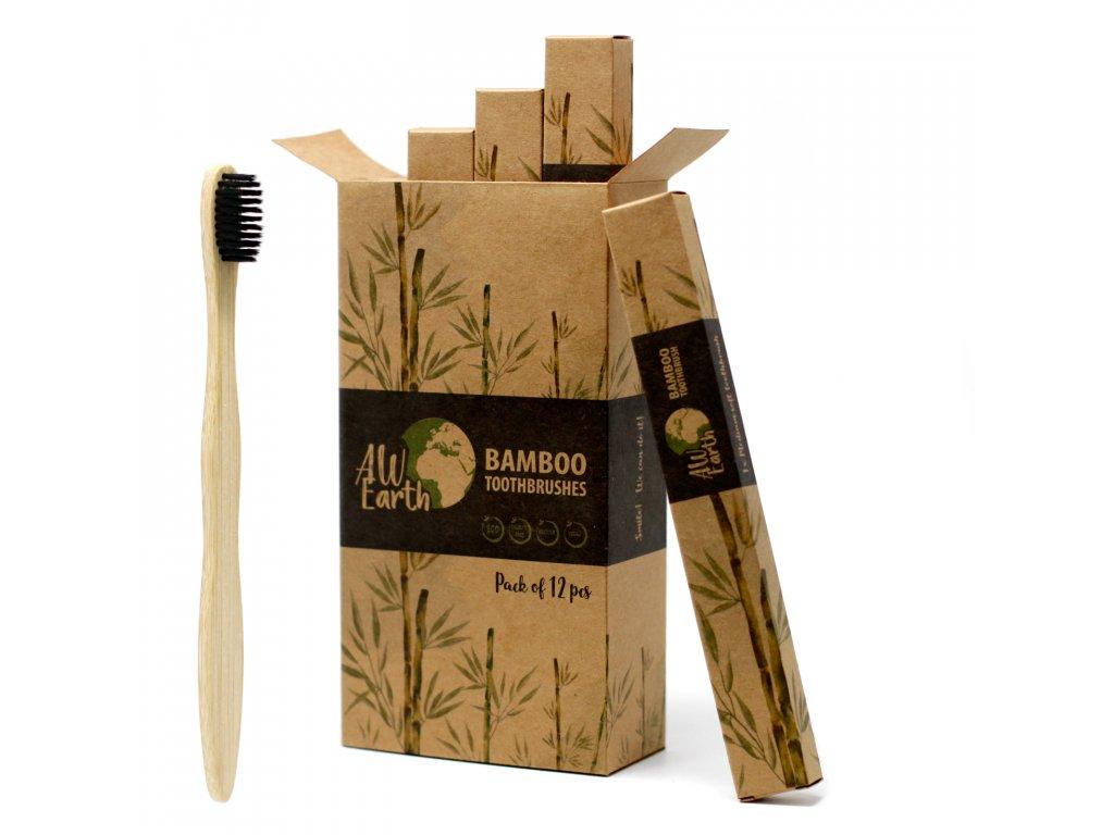 Přírodní bambusový kartáček 1 ks, černý
