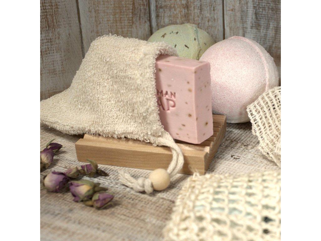 Přírodní mycí houba - sáček na mýdlo z ramie