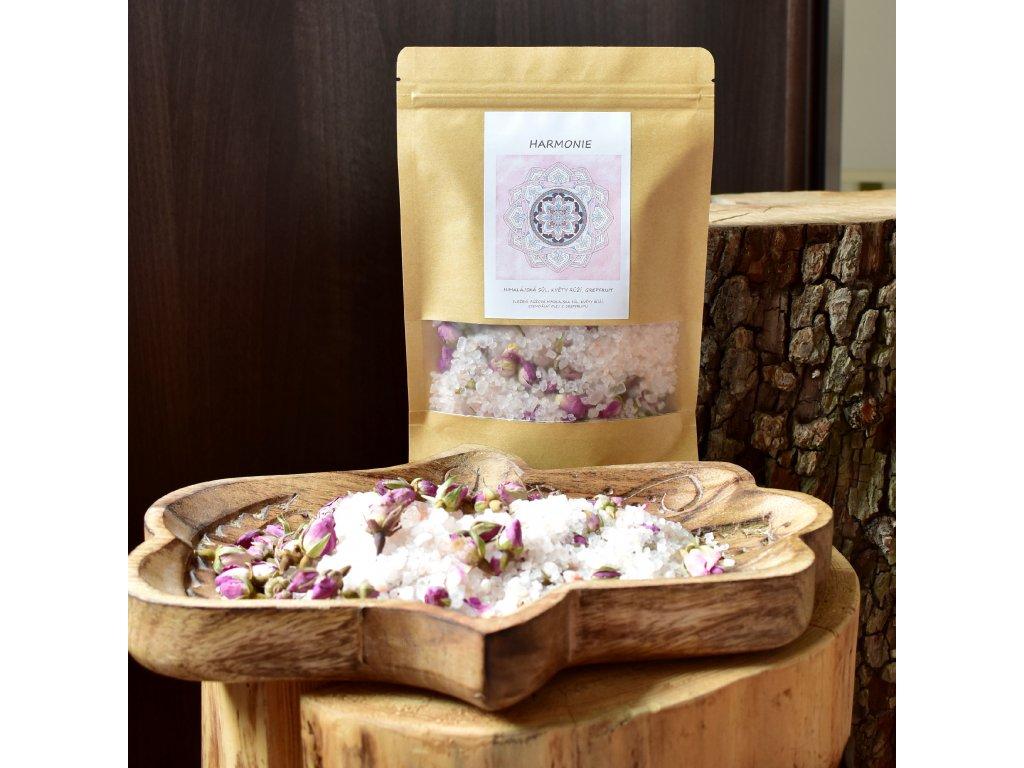 Aromaterapeutická himalájská sůl HARMONIE - květy růží, grepfruit 300g