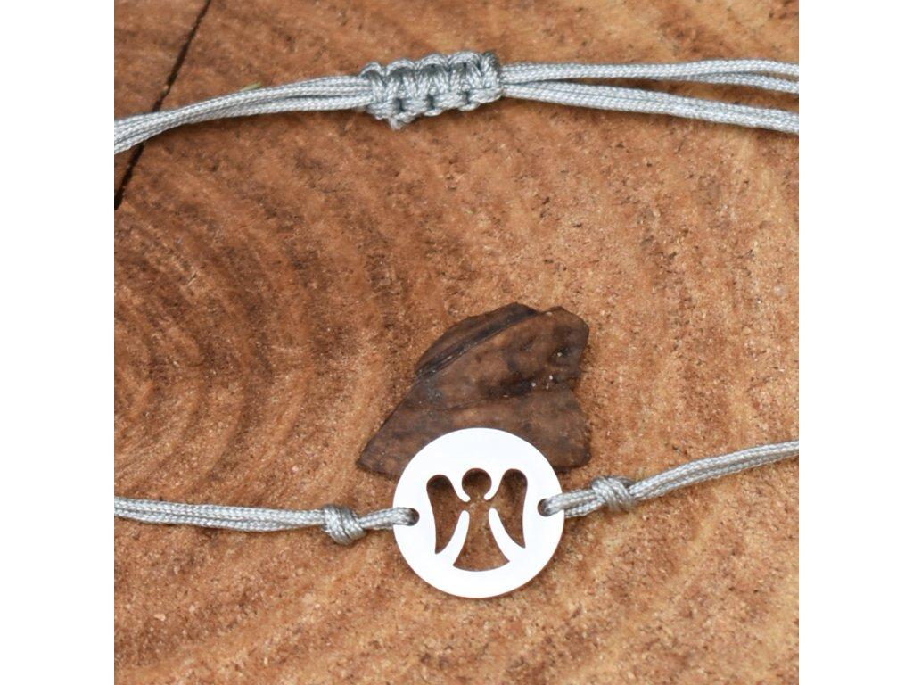 Shamballa náramek ANDĚL STRÁŽNÝ - chirurgická ocel, nylon