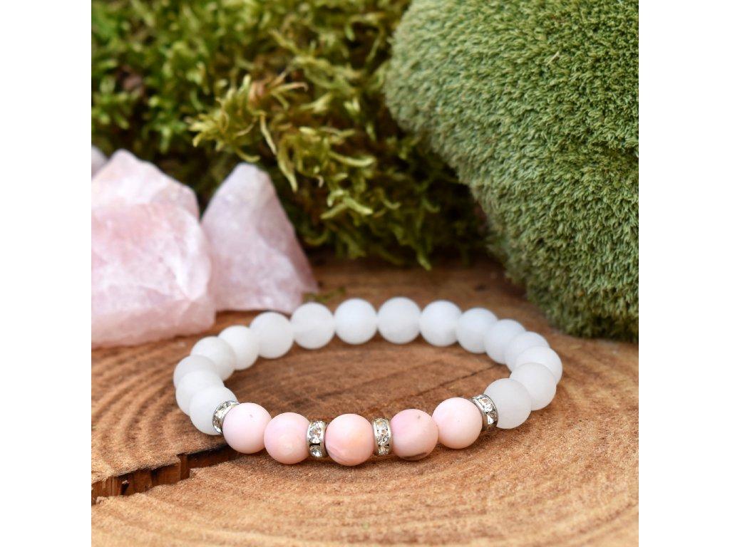 Náramek z minerálů OCHRÁNCE ŠTĚSTÍ A HARMONIE – růžový opál, bílý nefrit, chirurgická ocel