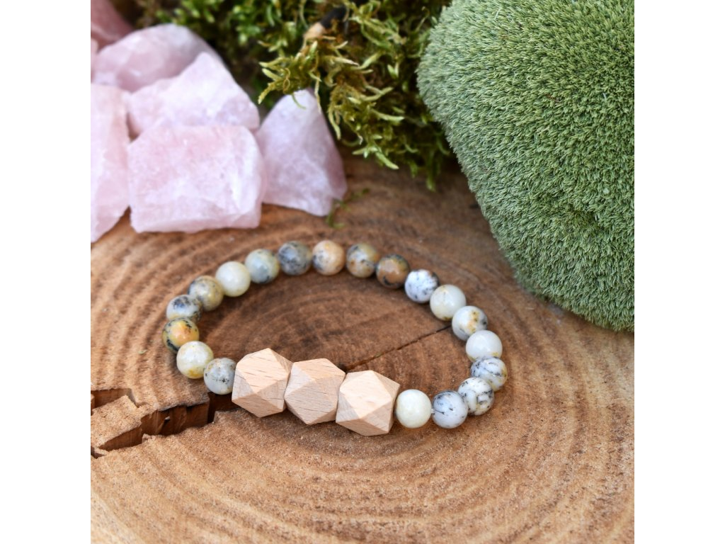 Náramek z minerálů SPOJENÍ S PŘÍRODOU - bílý africký opál, dřevo