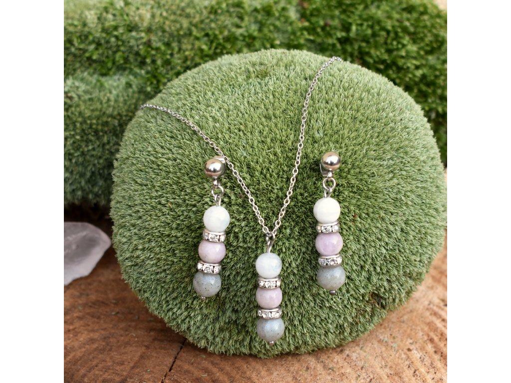 Souprava náušnic a náhrdelníku z minerálů SEBEDŮVĚRA – kunzit, labradorit, bílý měsíční kámen, chirurgická ocel