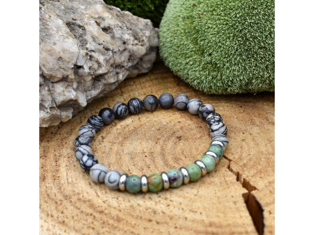 Náramek z minerálů KOZOROH - zelený opál, síťovaný jaspis, chirurgické ocel, unisex