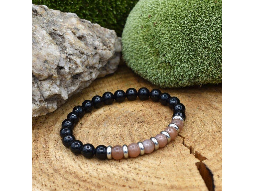 Náramek z minerálů LEV - sluneční kámen, onyx, chirurgické ocel, unisex