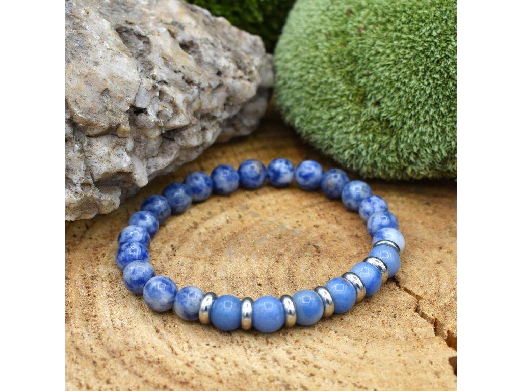 Náramek z minerálů VÁHY - modrý avanturín, modrý jaspis, chirurgická ocel, unisex
