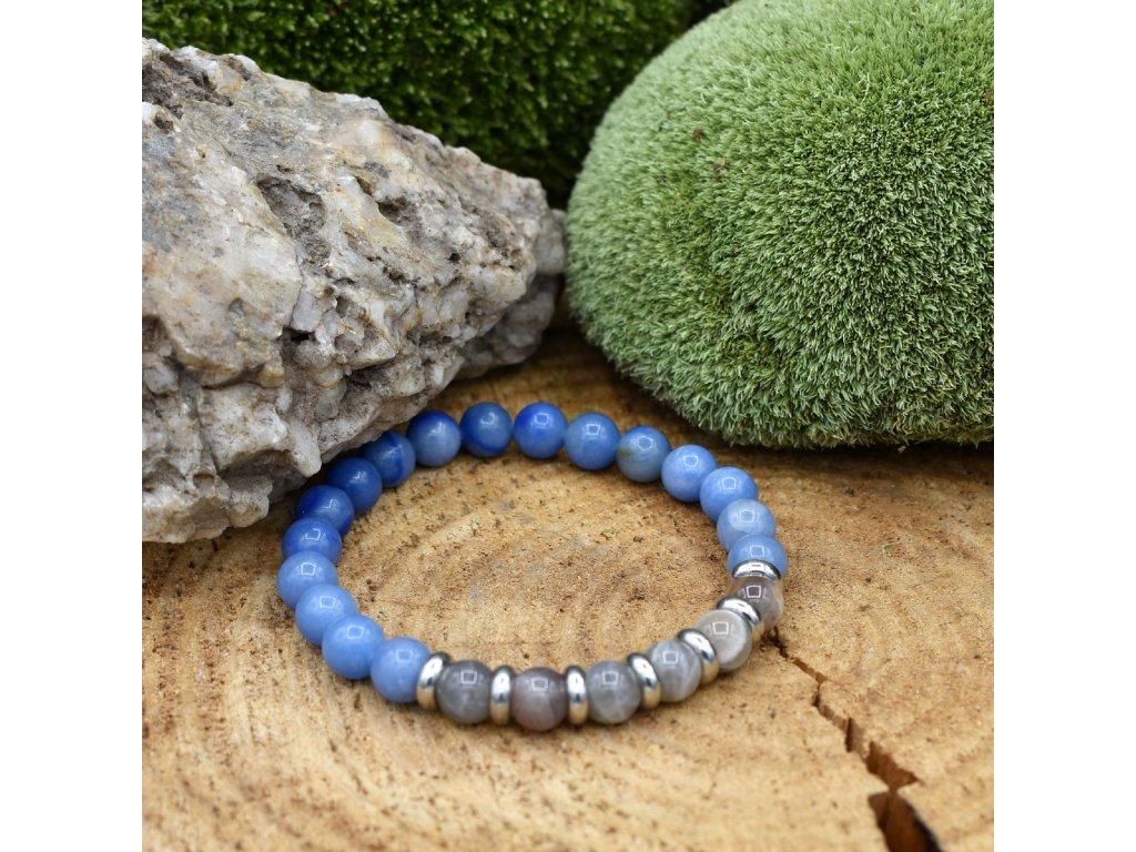 Náramek z minerálů RAK - měsíční kámen, modrý avanturín, chirurgické ocel, unisex