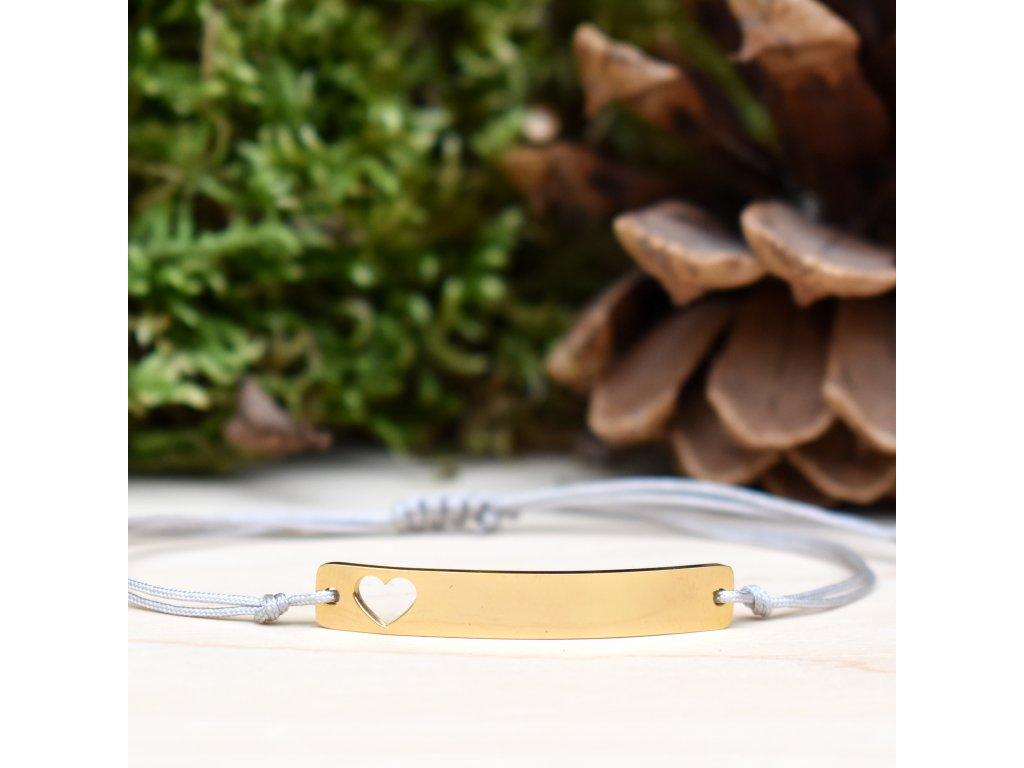 Shamballa náramek LÁSKA - chirurgická ocel gold, nylon