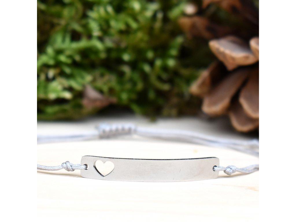 Shamballa náramek LÁSKA - chirurgická ocel, nylon