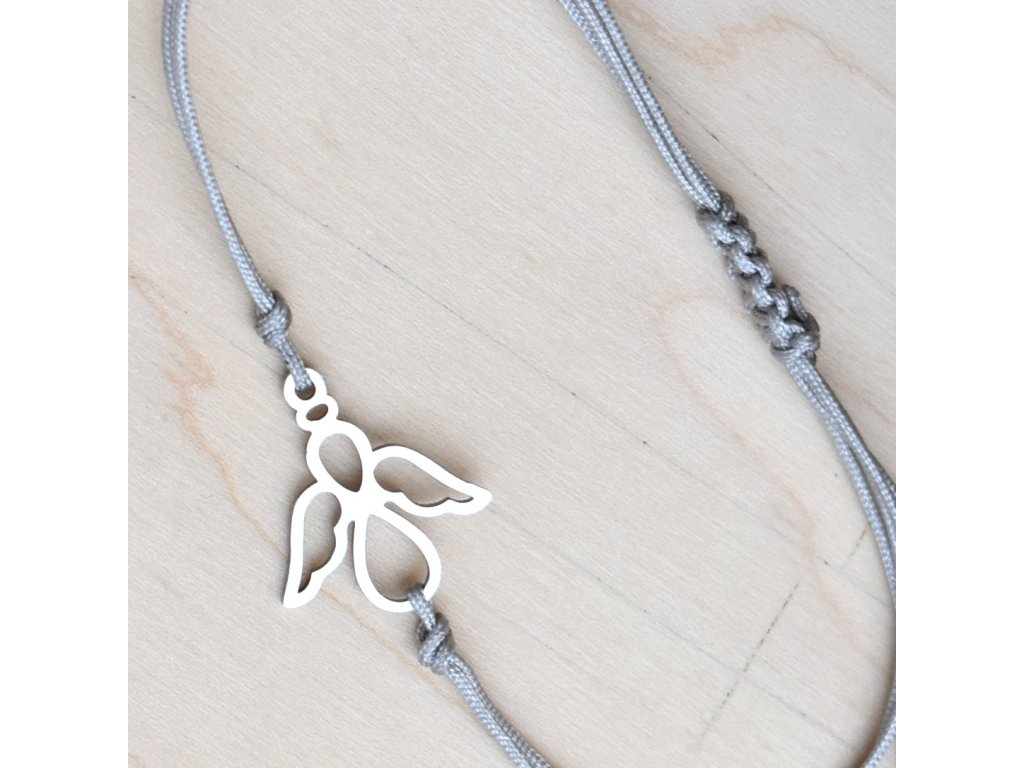 Shamballa náramek ANDĚL OCHRÁNCE - chirurgická ocel, nylon