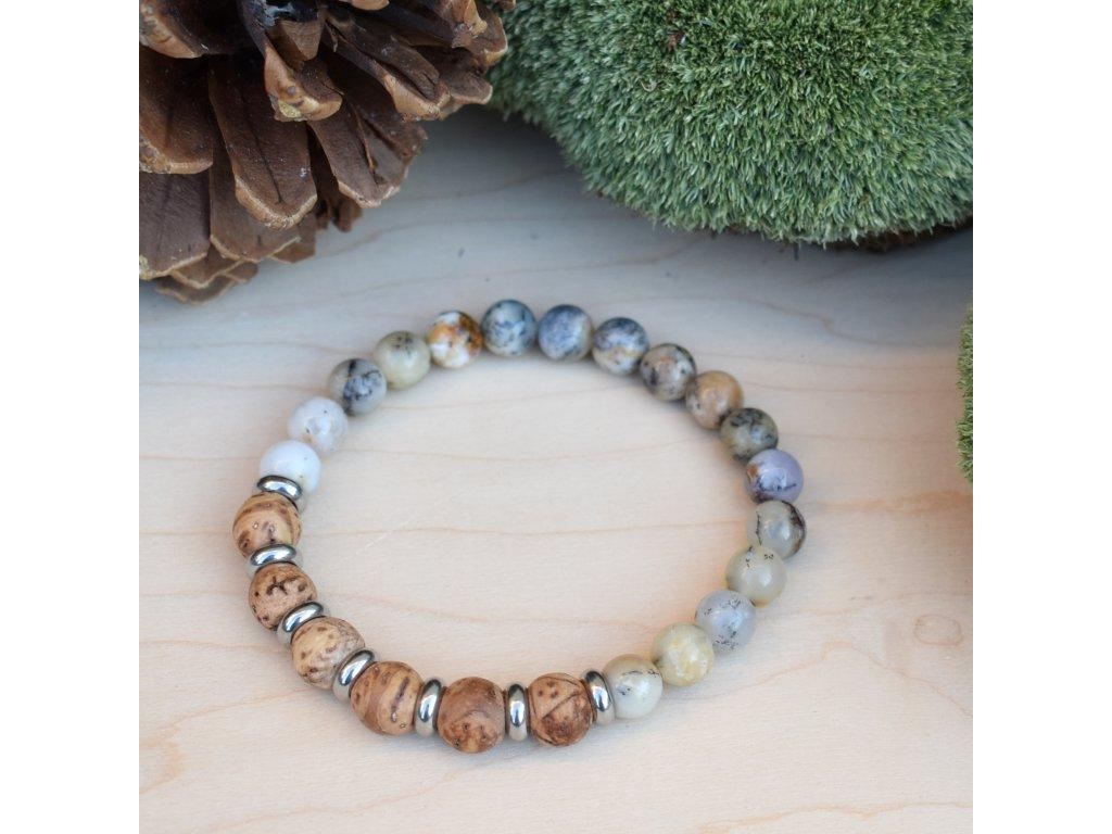 Náramek z minerálů SÍLA PŘÍRODY - bílý africký opál, bodhi, chirurgická ocel