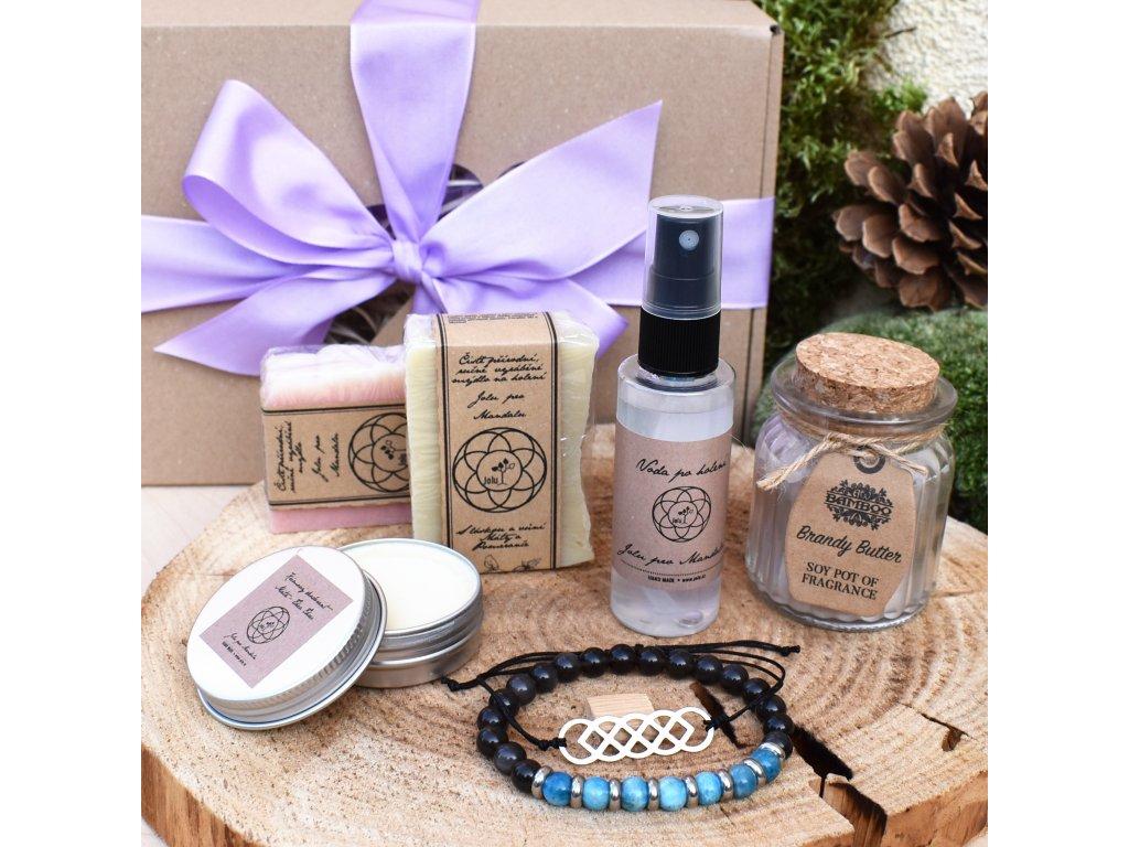 Dárkový balíček pro muže POZITIVNÍ MYŠLENÍ (L) - náramek, shamballa, sada mýdel pro muže, voda po holení, krémový deodorant, svíčka