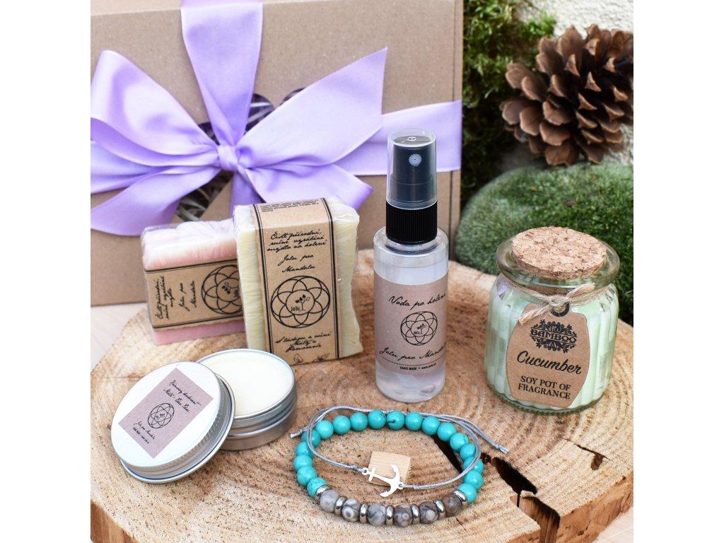 Dárkový balíček pro muže RADOST Z PŘÍTOMNÉHO OKAMŽIKU (L) - náramek, shamballa, sada mýdel pro muže, voda po holení, krémový deodorant, svíčka
