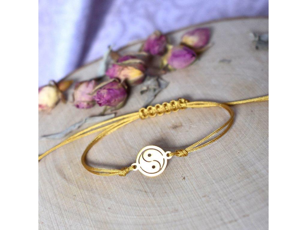 Shamballa náramek JIN A JANG gold - chirurgická ocel, nylon