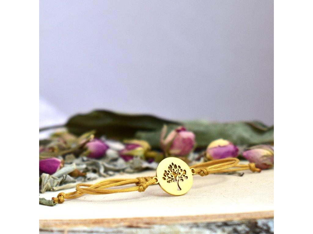 Shamballa náramek symbol STROM ŽIVOTA gold - chirurgická ocel, nylon