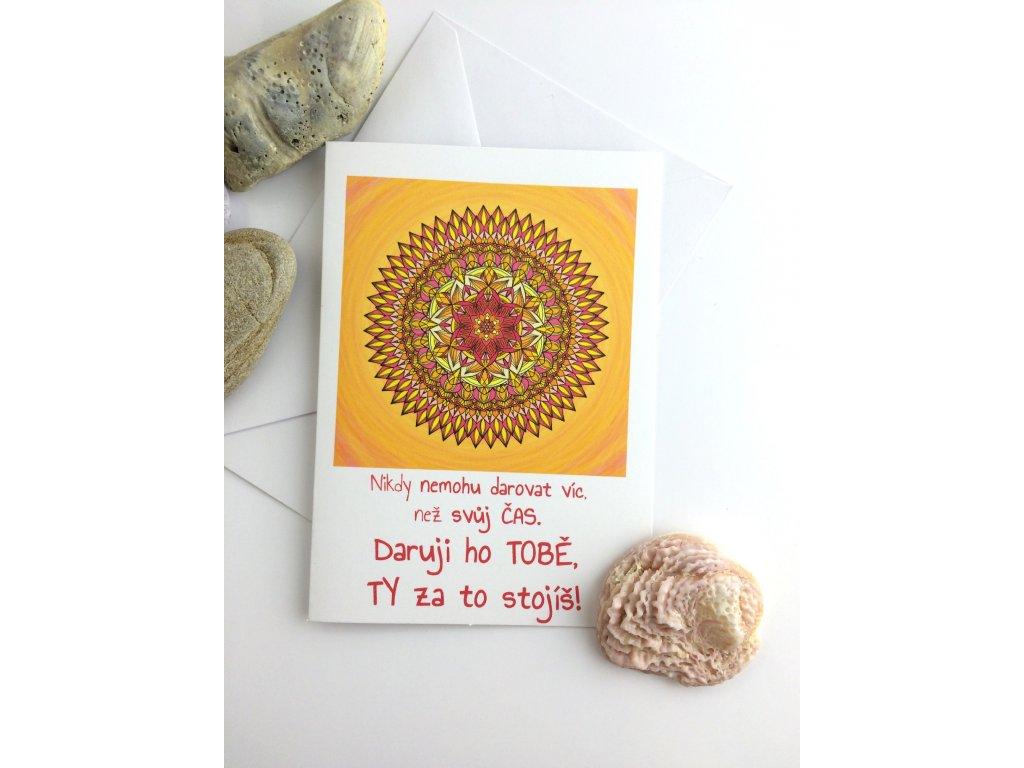 Přání s textem a mandalou Daruji Ti to nejcennější