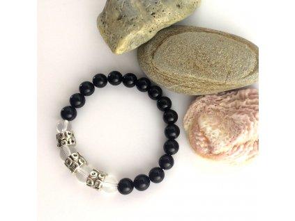 Náramek z minerálů Mystická síla – obsidián, křišťál