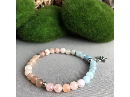 Náramek z minerálů LÁSKA A POROZUMĚNÍ - měsíční kámen, morganit, lotosový květ, chirurgická ocel