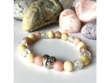 Náramek z minerálů Dotek anděla – růžový opál, sluneční kámen, měsíční kámen, pukaný křišťál