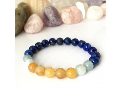 Náramek z minerálů Odvaha, láska a radost - lapis lazuli, akvamarín, topaz