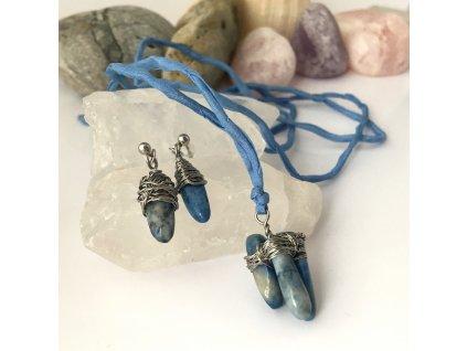 Souprava náušnice a přívěšek Chvilka meditace - lapis lazuli, chirurgická ocel, hedvábí