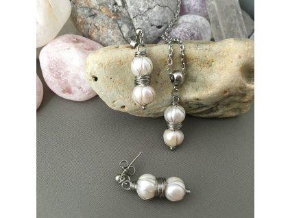 Náušnice, řetízek a přívěšek Dvě perly - říční perly, chirurgická ocel (M Řetízek s přívěškem)