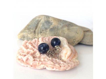 Náušnice pecky - sodalit