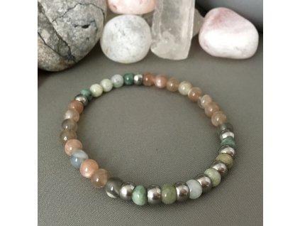 Náramek z minerálů RAK ON ♂ - jadeit, měsíční kámen, chirurgická ocel