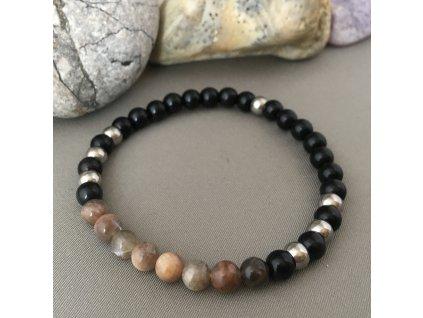 Náramek z minerálů LEV ON - černý sluneční kámen, onyx, chirurgická ocel
