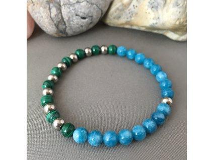 Náramek z minerálů ŠTÍR ON ♂ - malachit, modrý křišťál, chirurgická ocel