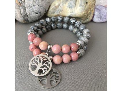 Náramek z minerálů RODINA - krajinový jaspis, rodonit, strom života, chirurgická ocel