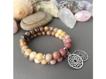 Náramek z minerálů MANDALA – Venušin jaspis, sluneční kámen, rodonit, mandala, chirurgická ocel