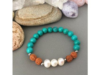 Náramek z minerálů OCHRANA A SÍLA - sinkiangský tyrkys, říční perly, Rudraksha, chirurgická ocel