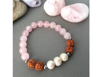 Náramek z minerálů SÍLA LÁSKY - růženín, Rudraksha, říční perly, chirurgická ocel
