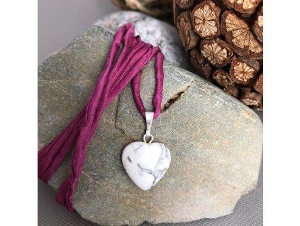 Přívěšek srdce BÍLÝ MAGNEZIT - menší