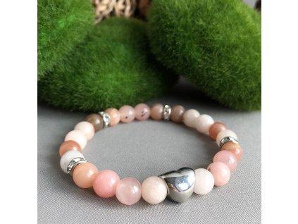 Náramek z minerálů LÁSKA LUNY - třešňový jaspis, měsíční kámen, srdce, chirurgická ocel