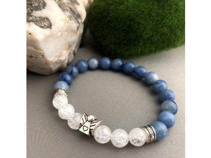 Náramek z minerálů ANDĚL STRÁŽNÝ - modrý avanturín, pukaný křišťál, anděl