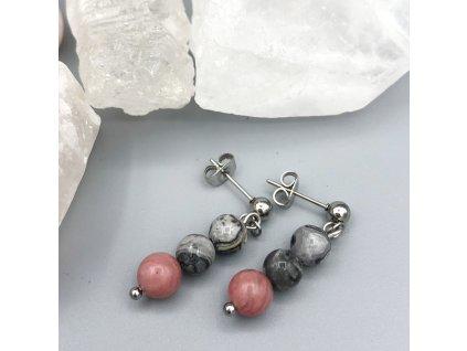 Náušnice z minerálů ŠTĚSTÍ A LÁSKA - krajinový jaspis, rodonit, chirurgická ocel