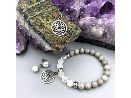 Balíček KVĚT ŽIVOTA - stříbrný jaspis, magnezit, pukaný křišťál, květ života, chirurgická ocel