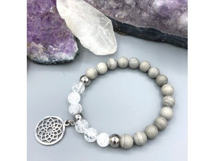 Náramek z minerálů KVĚT ŽIVOTA - stříbrný jaspis, pukaný křišťál, květ života, chirurgická ocel