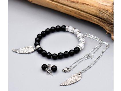 Balíček SEBEVĚDOMÍ A OCHRANA – obsidián, pukaný křišťál, andělské křídlo, chirurgická ocel