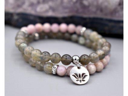 Náramek z minerálů OCHRANA AURY – labradorit, kunzit, lotosový květ, chirurgická ocel