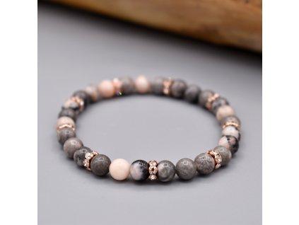 Náramek z minerálů SÍLA ZEMĚ - růžový zebrovaný jaspis, mosaz