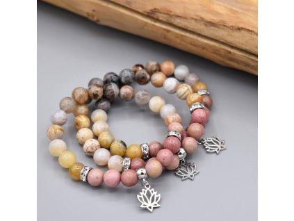 Náramek z minerálů SEBEDŮVĚRA – bambusový achát, rodonit, lotosový květ, chirurgická ocel