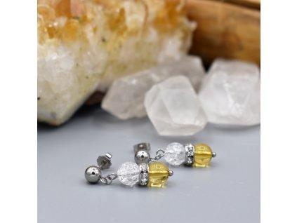 Náušnice z minerálů ČISTÁ ENERGIE - citrín, pukaný křišťál, chirurgická ocel