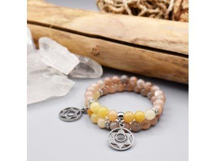 Náramek z minerálů RADOST A LÁSKA 2. čakra - Svádhišthána - zlatý topaz, měsíční kámen, chirurgická ocel