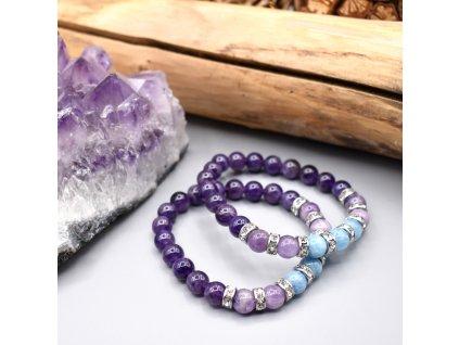 Náramek z minerálů MOUDROST A INTUICE 6. čakra - Ádžňá - ametyst, mauvský nefrit, modrý křemen, chirurgická ocel