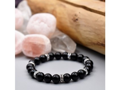 Náramek z minerálů ŽIVOTNÍ SÍLA - onyx, chirurgická ocel