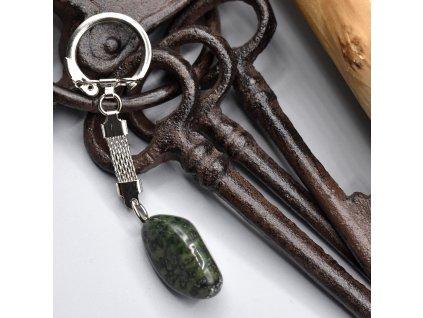 Klíčenka s kamenem - mechový achát