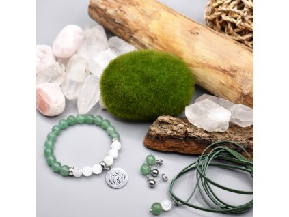 Balíček DOTEK ŠTĚSTÍ – zelený avanturín, pukaný křišťál, chirurgická ocel